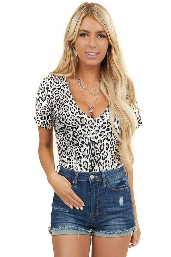 Ivory and Grey Leopard Print Knit Bodysuit with Rounded Neck