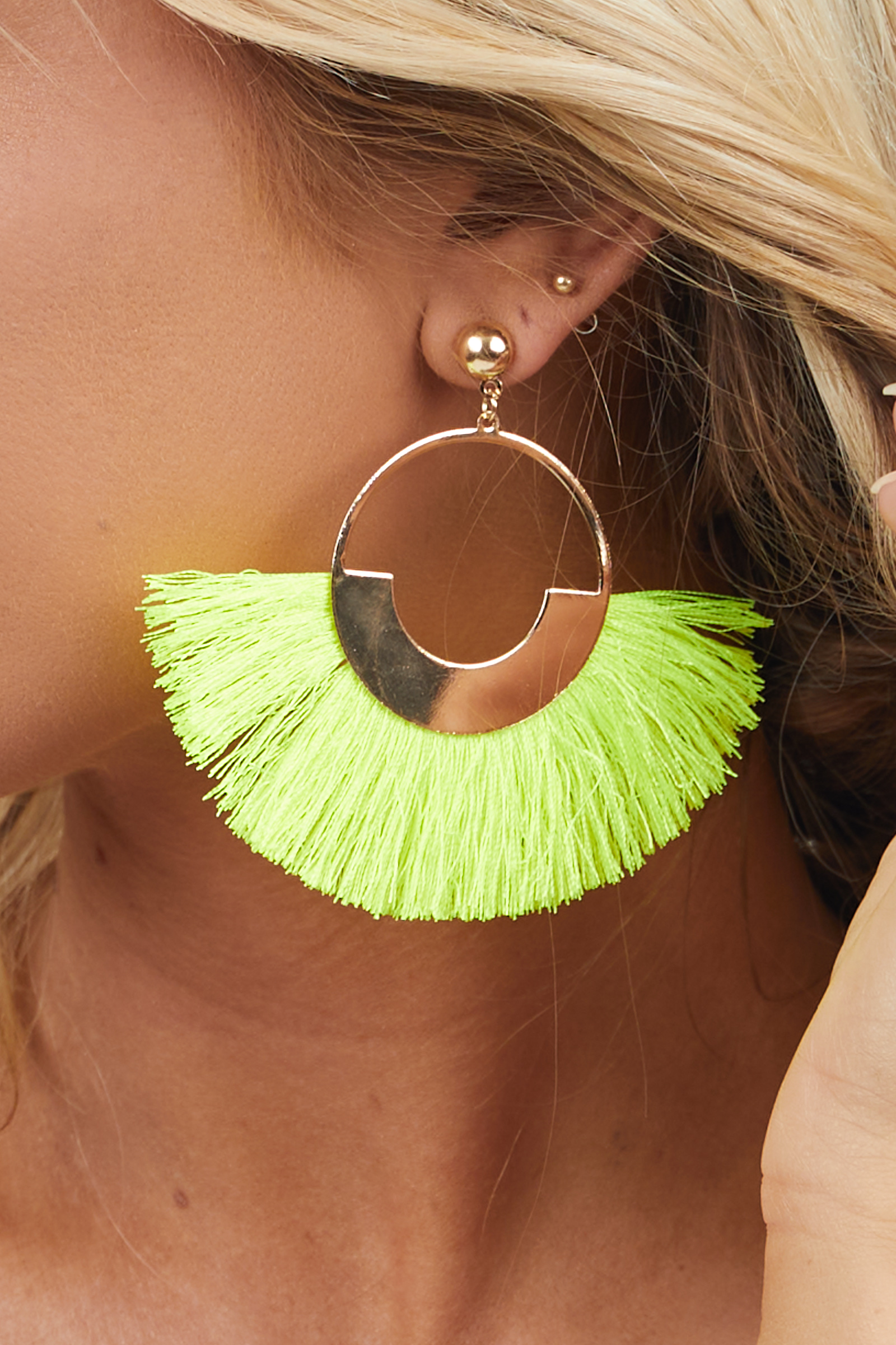 Gold Hoop Dangle Earrings with Neon Yellow Fringe Details