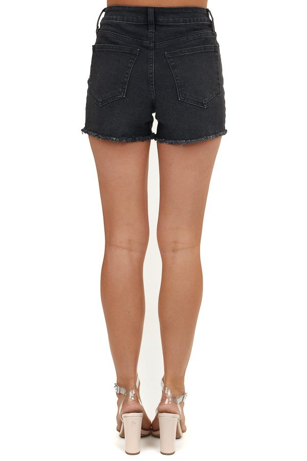 Faded Black Five Pocket Denim Shorts with Frayed Hems