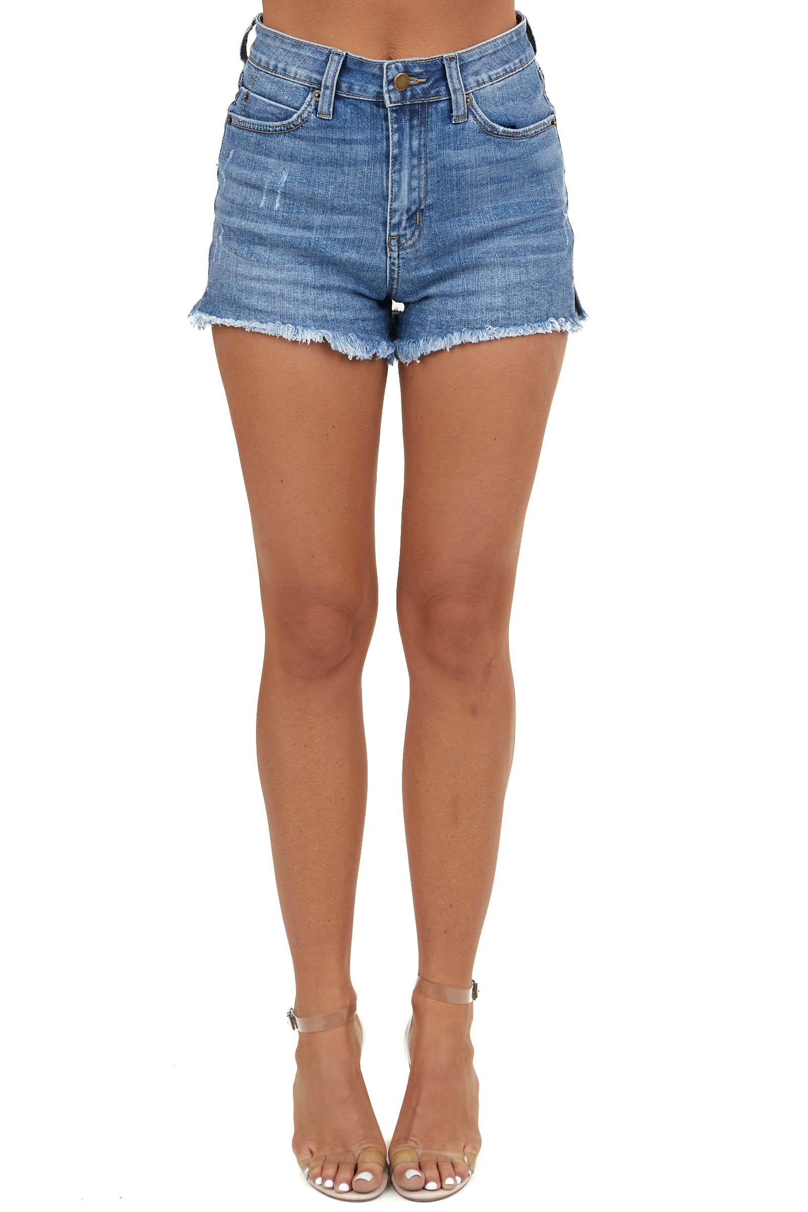 Medium Wash Denim Shorts with Distressed Hem and Side Slits
