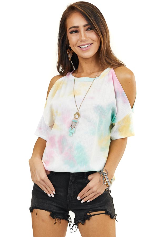 Multicolored Tie Dye Cold Shoulder Textured Knit Top