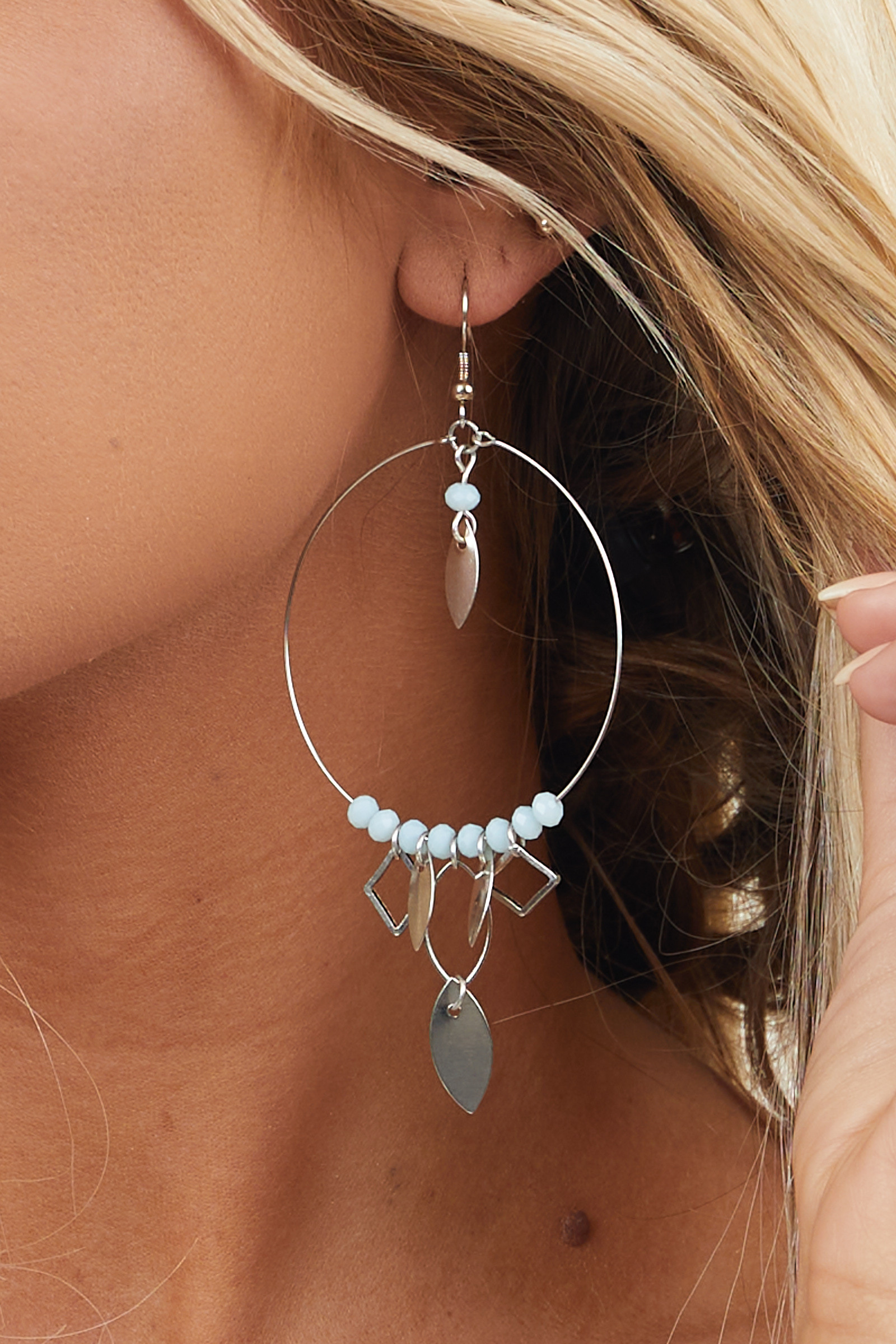 Silver Chandelier Earrings with Leaf and Mint Bead Details