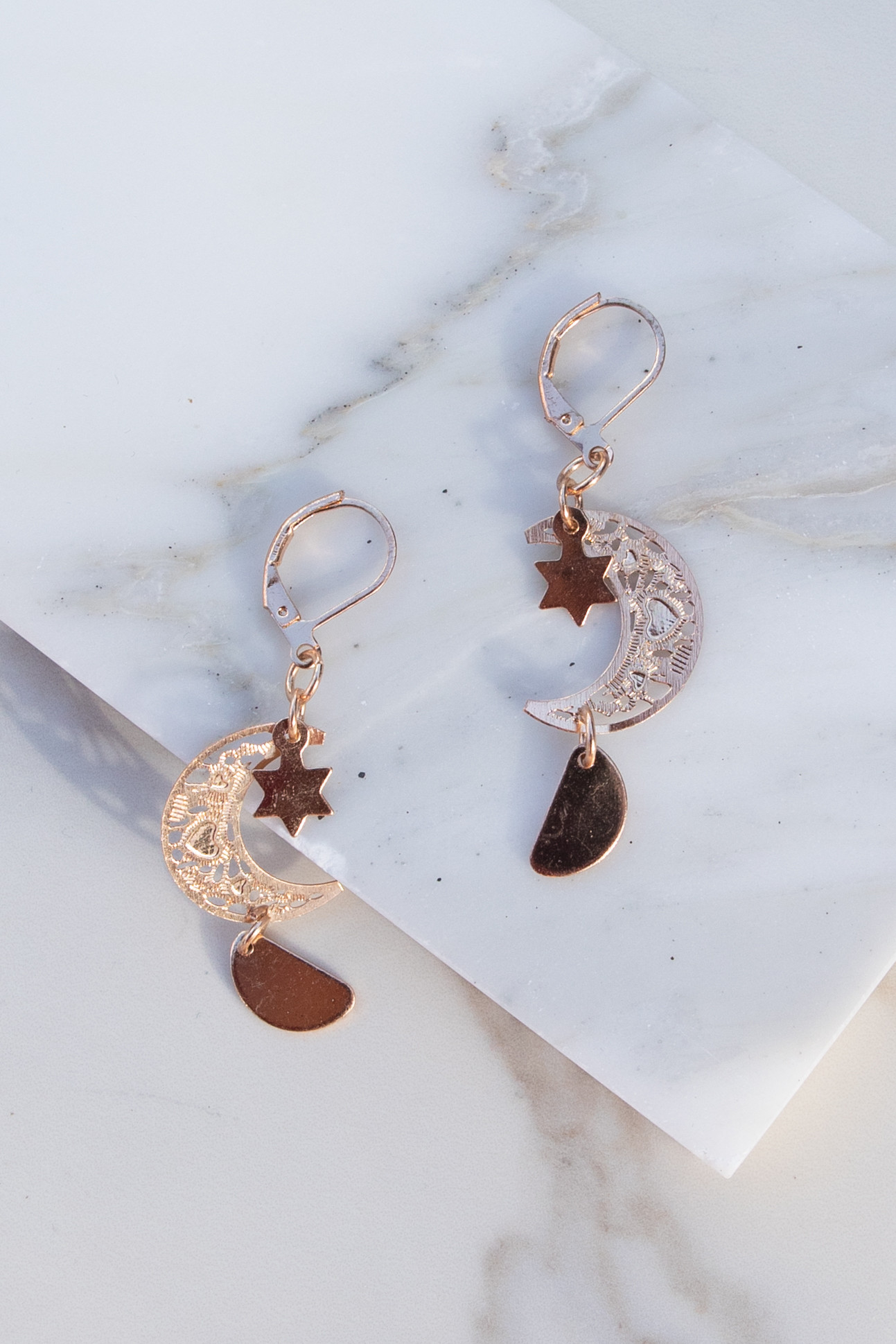 Rose Gold Moon and Star Dangle Earrings with Half Circle