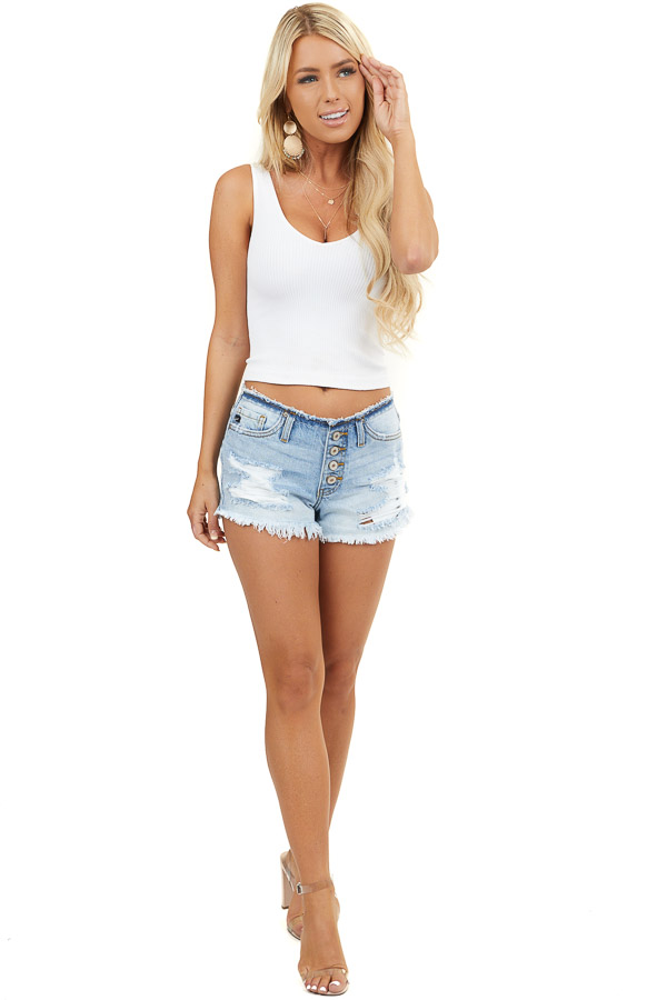 Light Wash Denim Distressed Shorts with Button Details