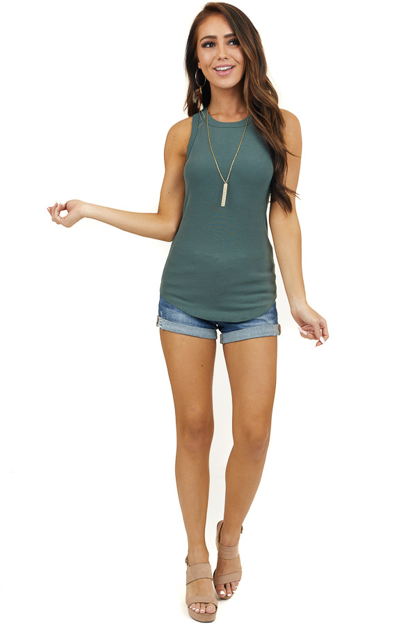 Hunter Green Ribbed Sleeveless Fitted Knit Top with Crewneck