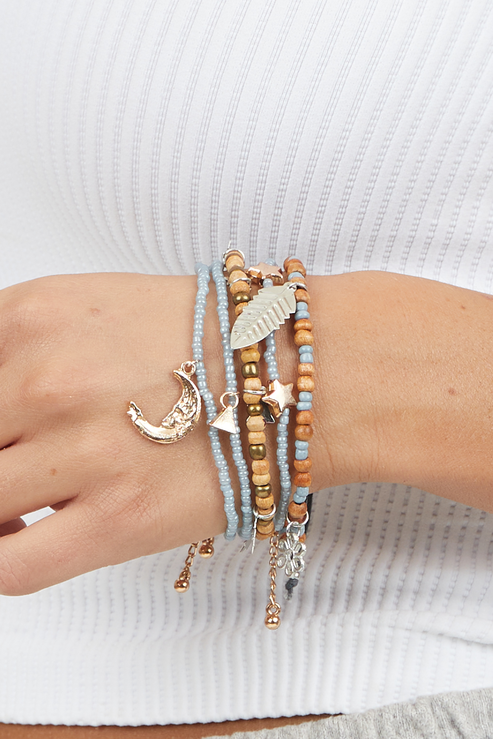 Dusty Blue and Wooden Bead Bracelet Set with Charm