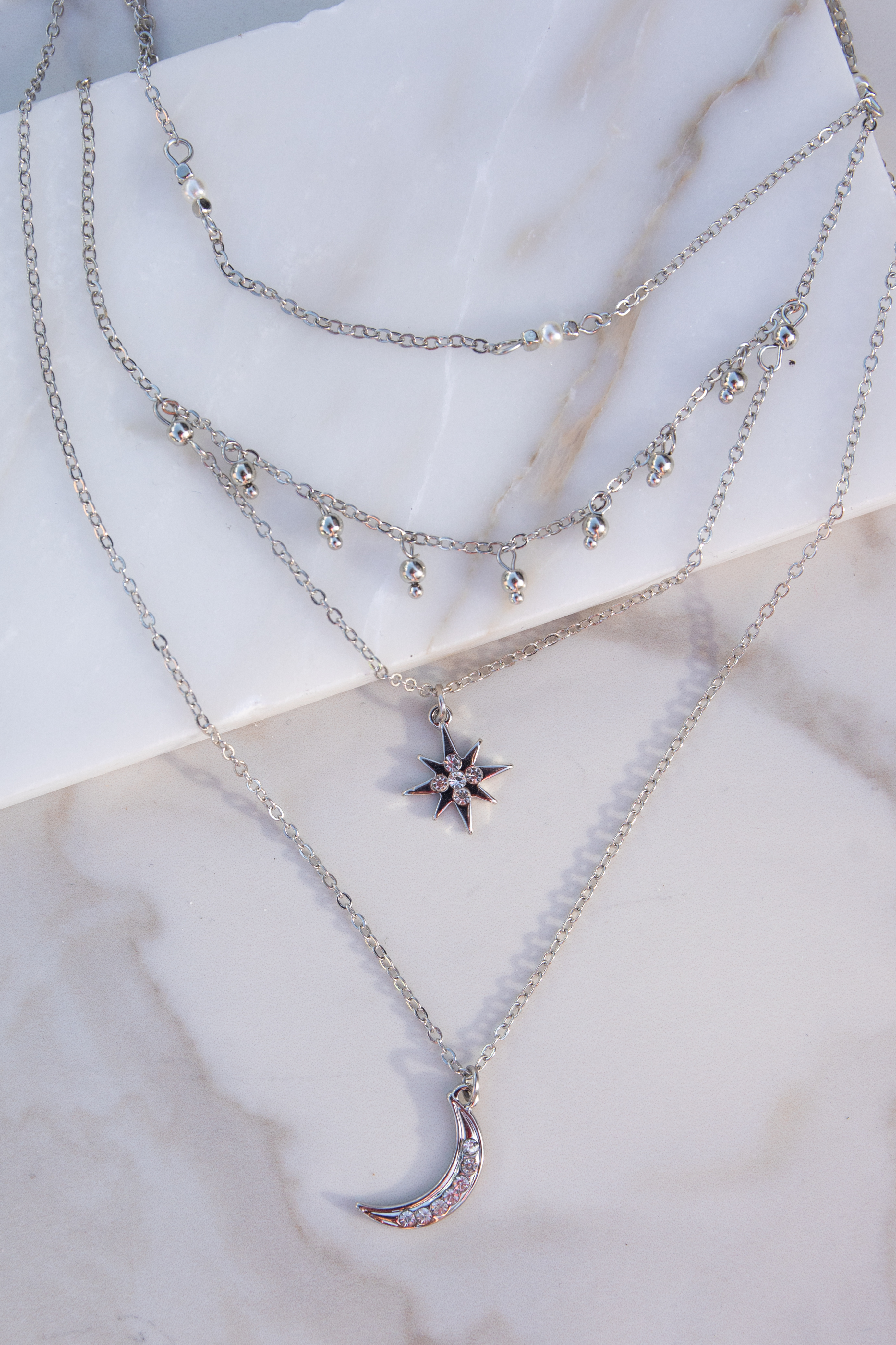 Silver Layered Necklace with Star and Moon Pendants