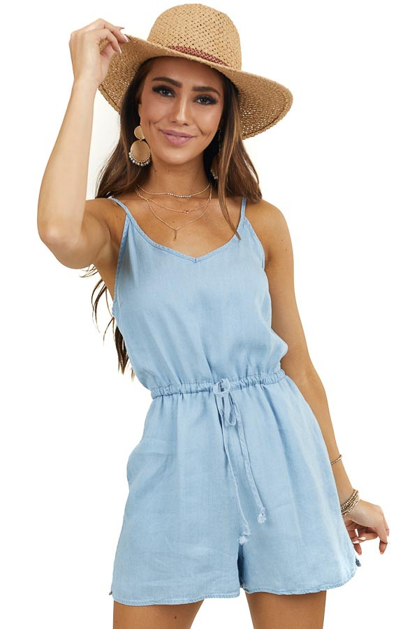 Light Wash Sleeveless Romper with Waist Tie and Pockets