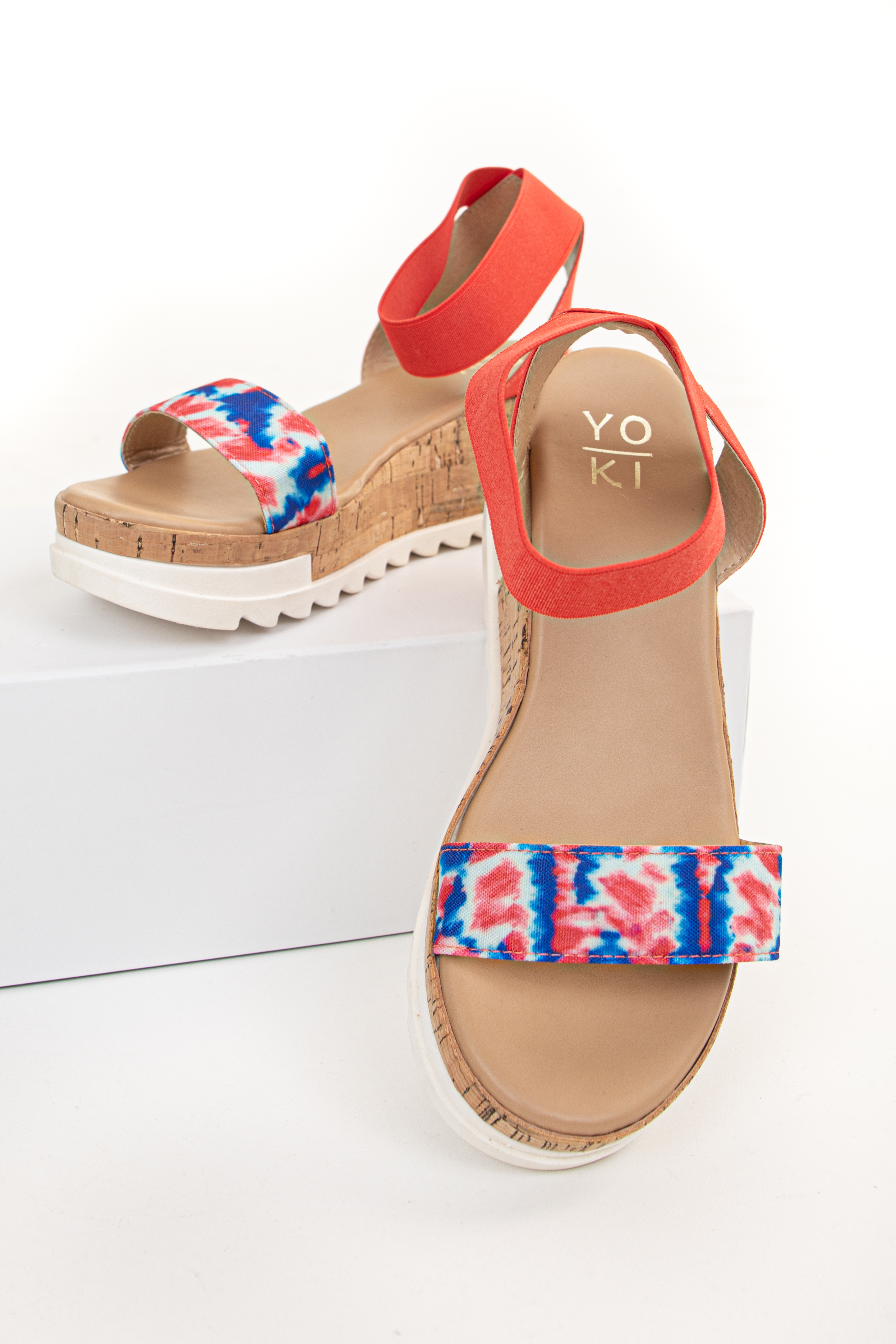 Crimson Red Tie Dye Sandal Wedge with Elastic Straps