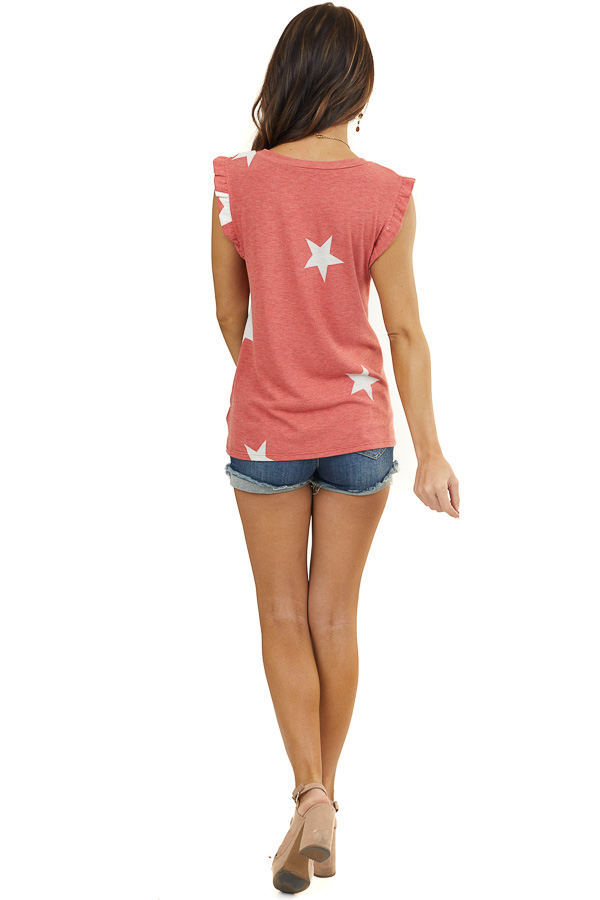Faded Red and Off White Star Print Top with Ruffle Straps