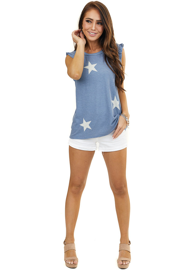 Dusty Blue and Off White Star Print Top with Ruffle Straps
