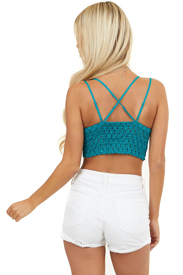 Deep Teal Floral Lace Bralette with Criss Cross Straps