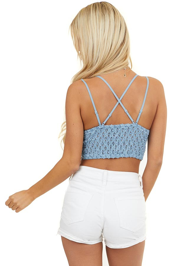 Dusty Blue Floral Lace Bralette with Criss Cross Straps