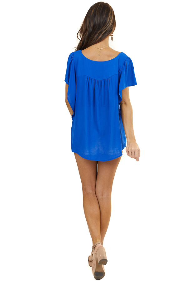 Royal Blue Woven Top with Short Batwing Sleeves