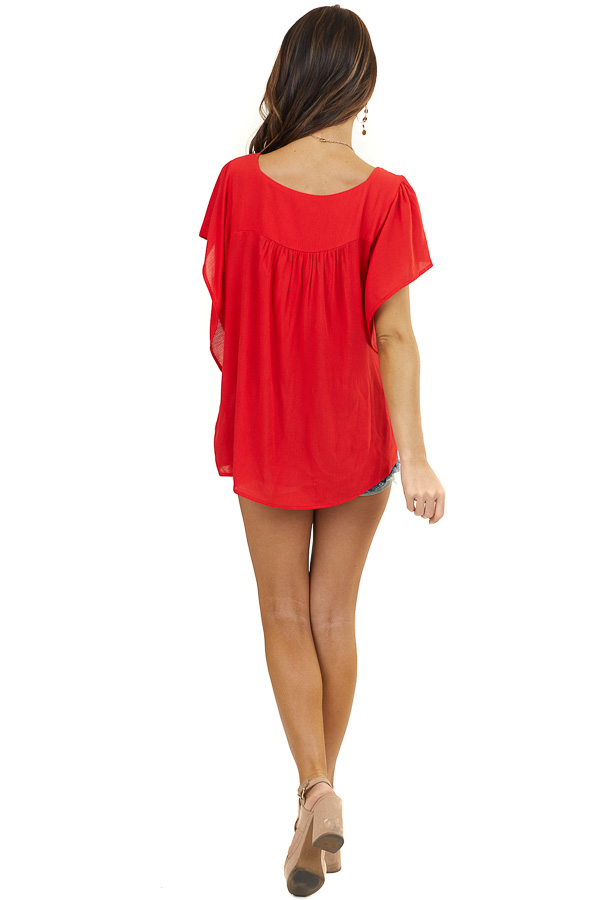 Lipstick Red Woven Top with Short Batwing Sleeves