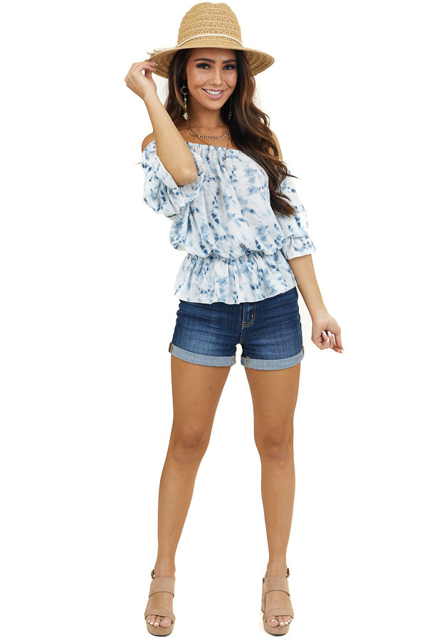 White and Blue Off Shoulder Peplum Blouse with Puff Sleeves