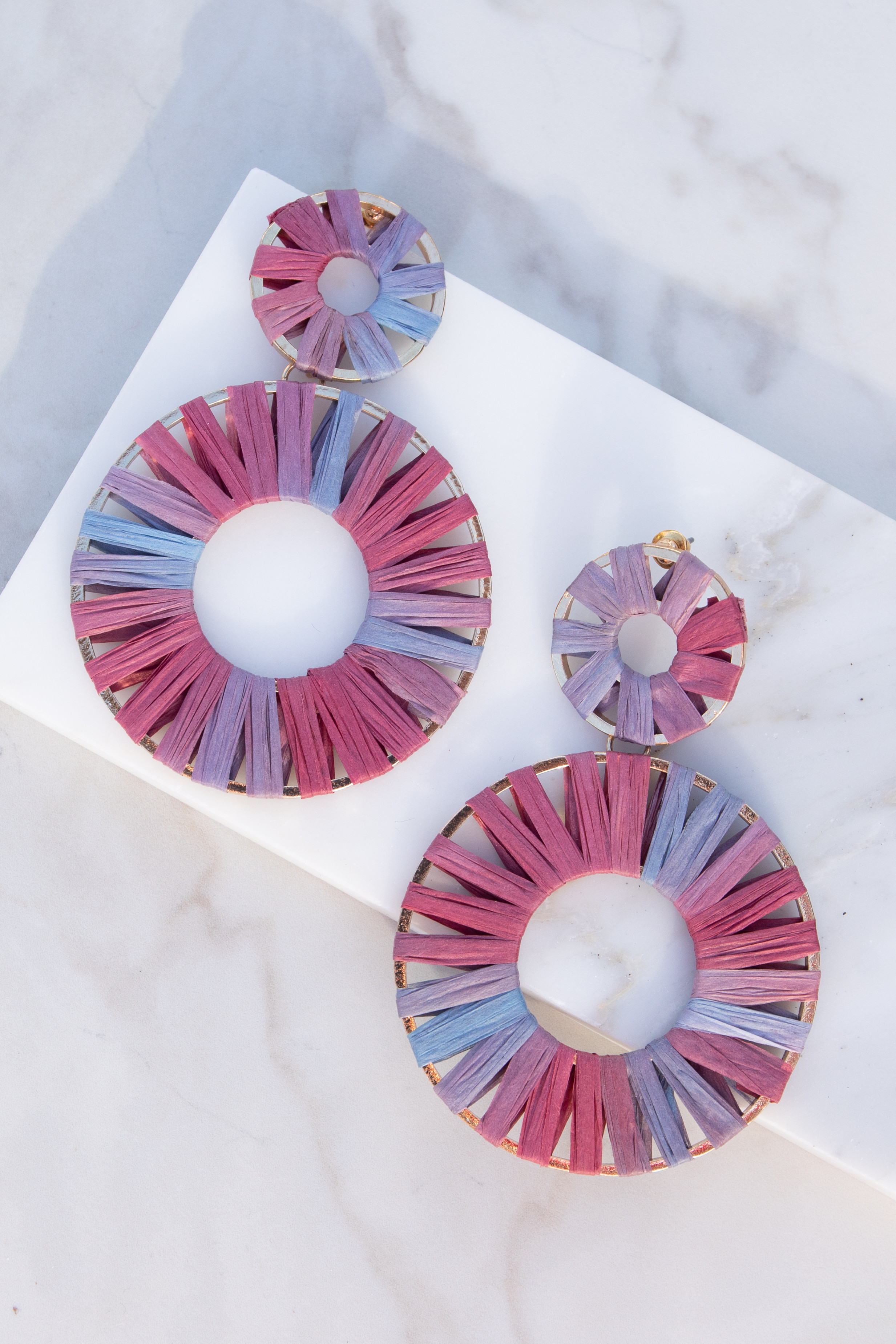 Pink and Blue Raffia Earrings with Dual Gold Hoops