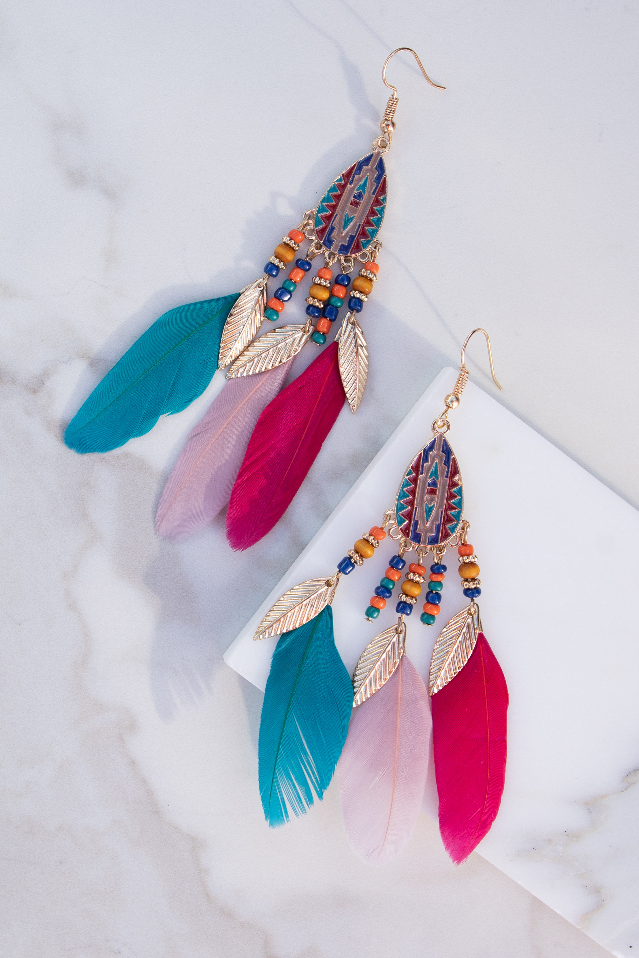 Multicolor Dangle Earrings with Aztec and Feather Details