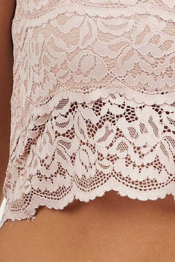 Dusty Blush Lace Strappy Bralette with Removable Straps