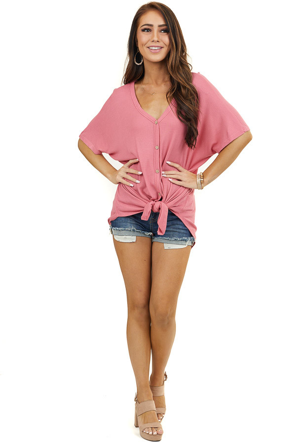 Rose Pink Short Sleeve Waffle Knit Top with Button Up Front