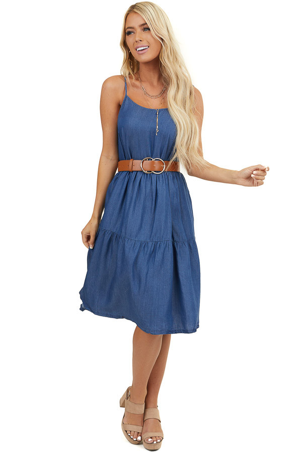 Denim Blue Sleeveless Tiered Short Woven Dress