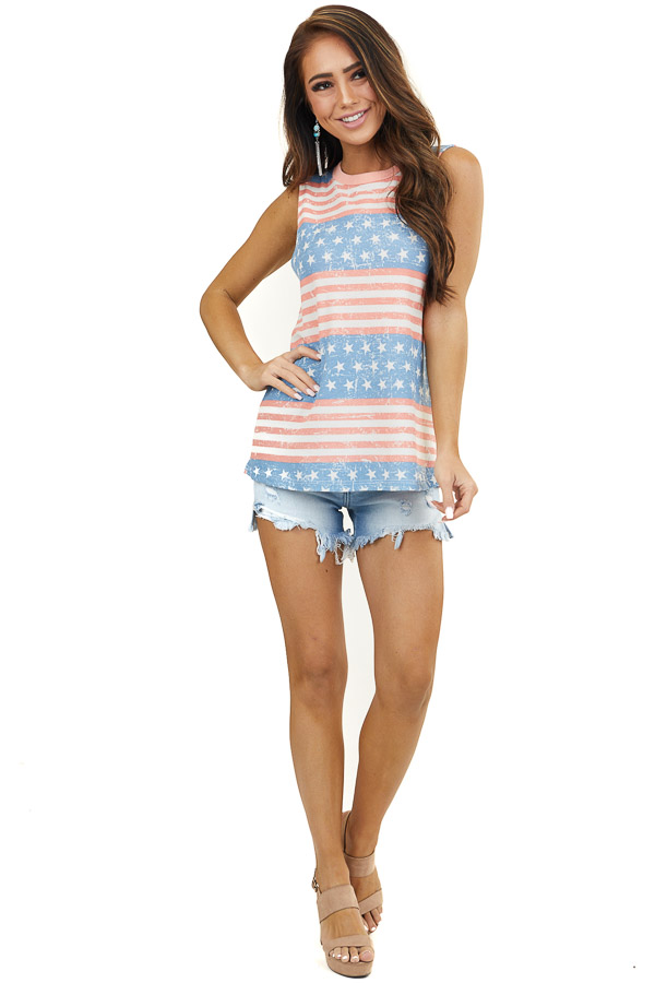 Faded Red White and Blue Patriotic Waffle Knit Tank Top