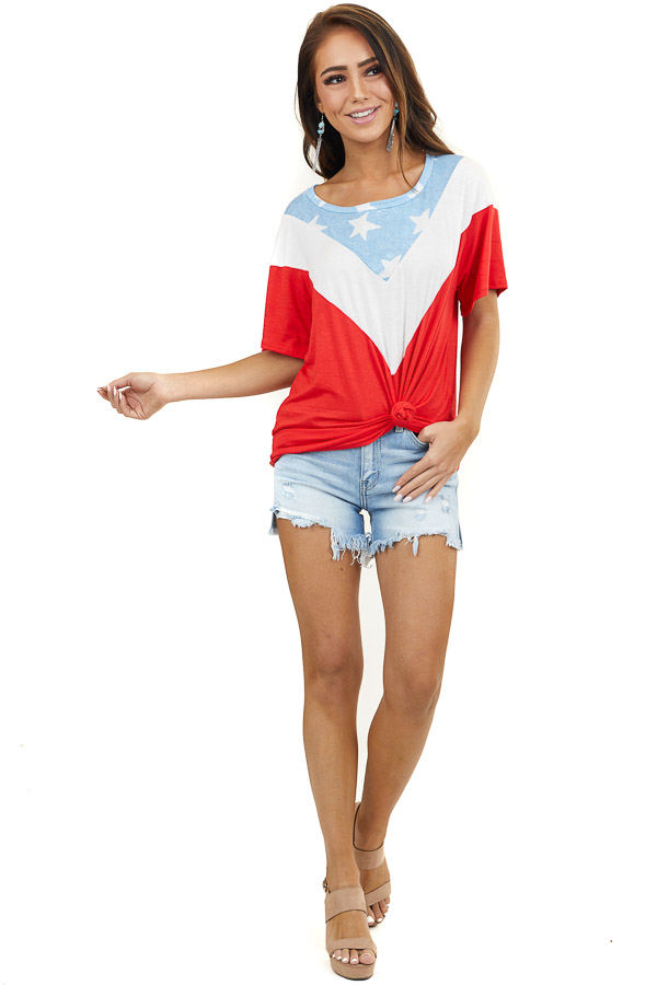 Red Chevron Colorblock Patriotic Knit Top with Short Sleeves