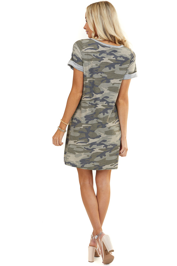 Olive Camo Print Short Sleeve Dress with Pockets