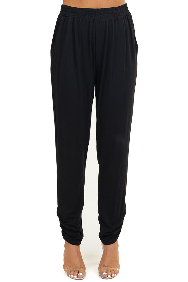 Black Light Weight Joggers with Ruching Details and Pockets