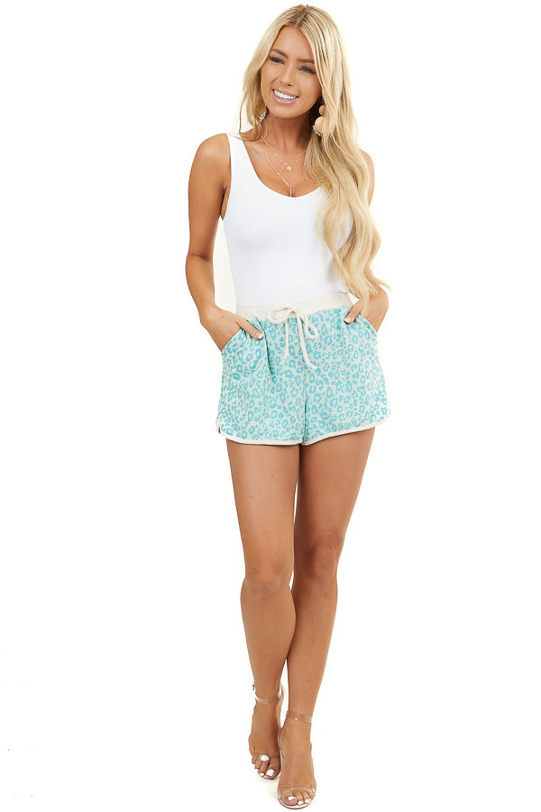 Turquoise Leopard Print Knit Shorts with Side Pockets