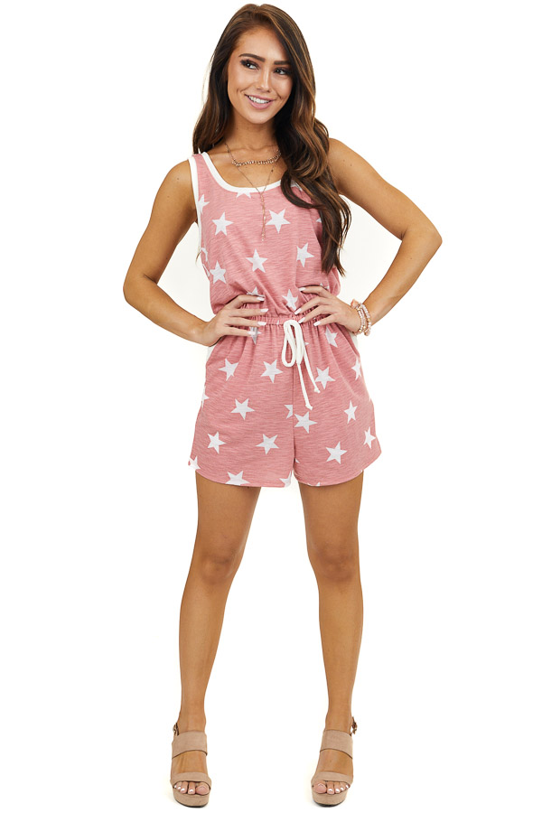 Faded Red Sleeveless Knit Romper with White Star Print