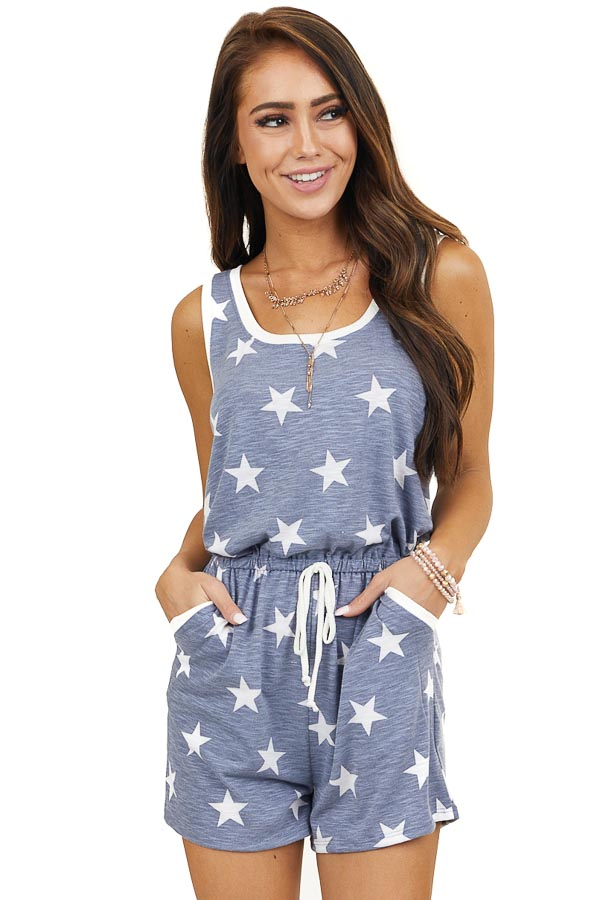 Faded Navy Sleeveless Knit Romper with White Star Print