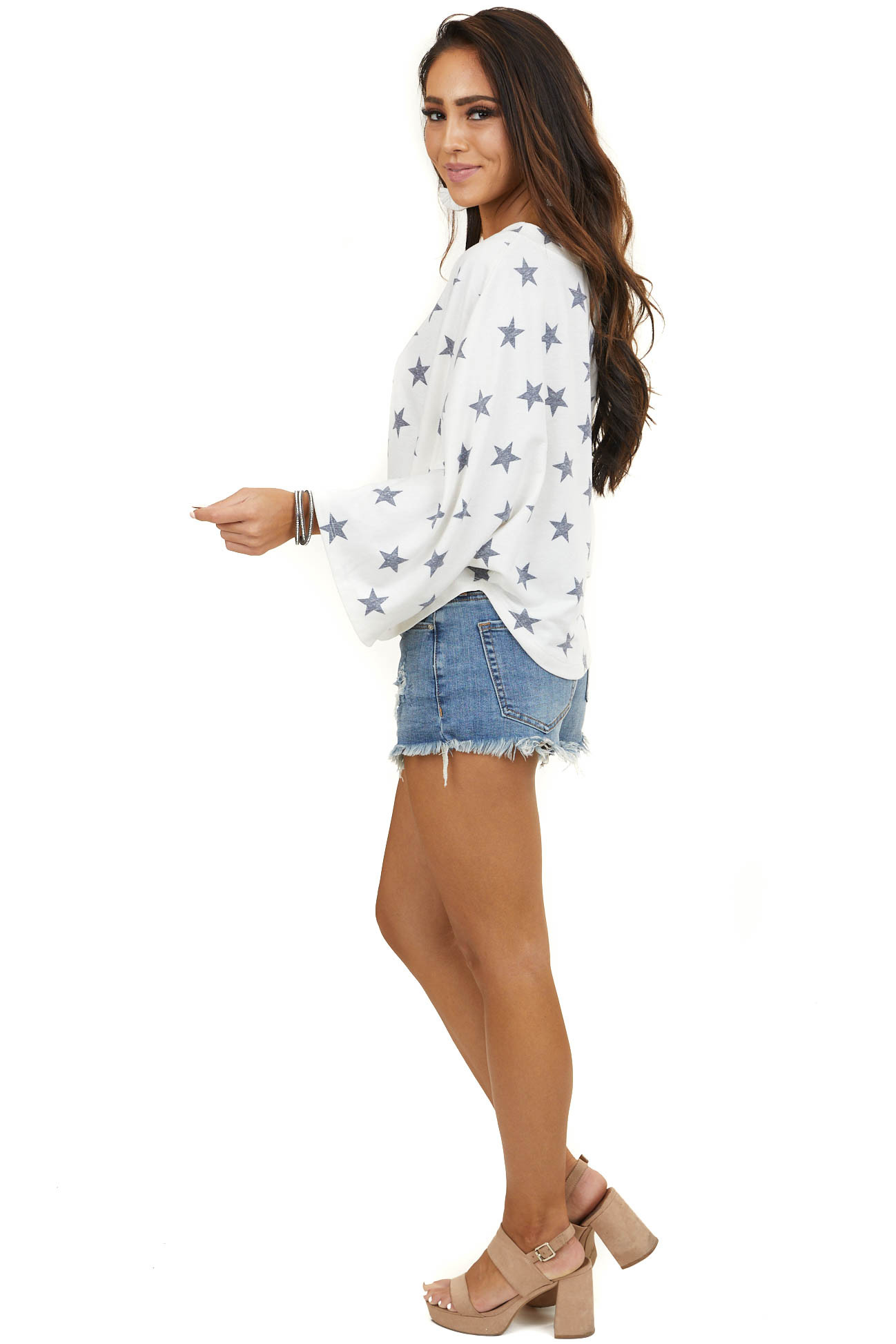 Ivory 3/4 Sleeve Knit Top with Faded Navy Star Print
