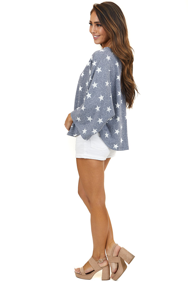 Faded Navy 3/4 Sleeve Knit Top with Ivory Star Print