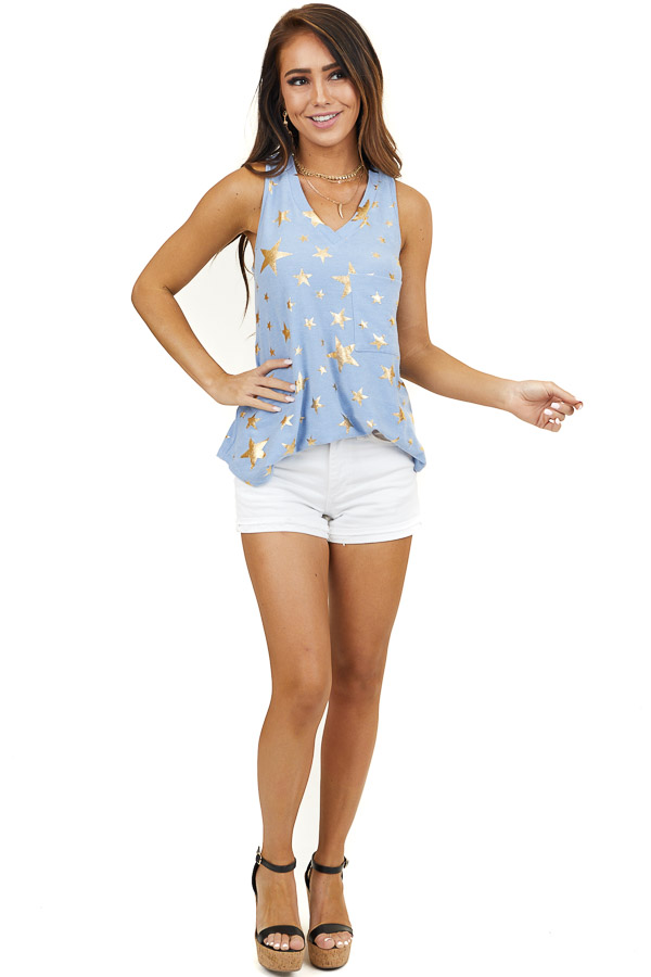 Powder Blue Tank Top with Gold Star Print and Pocket Detail