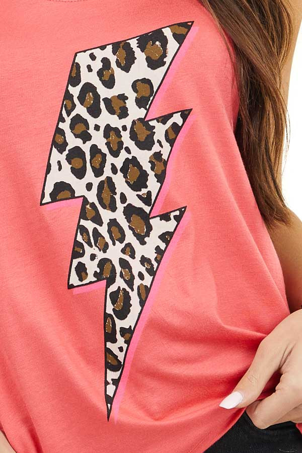 Bright Pink Tank Top with Leopard Print Lightning Graphic