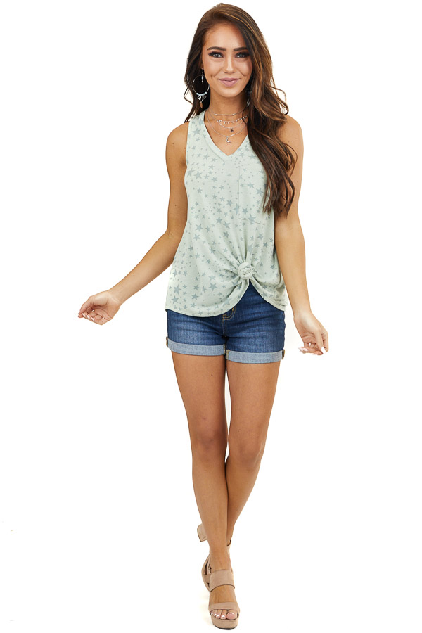 Pistachio Tank Top with Sage Star Print and Pocket Detail
