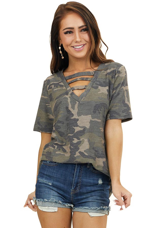 Olive Camo Print Short Sleeve Top with Ladder Neck Detail