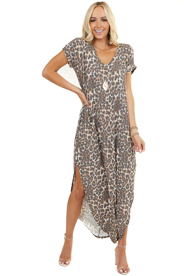 Cognac Leopard Print Maxi Tee Shirt Dress with Short Sleeves