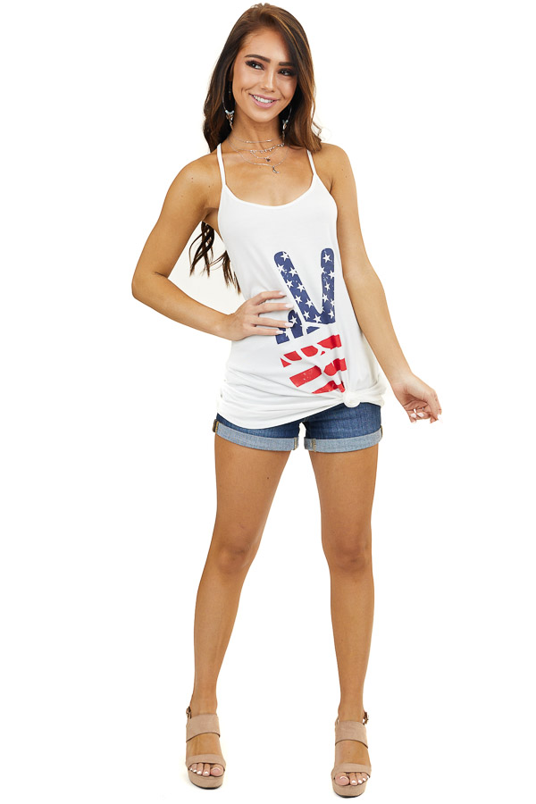 Off White American Flag Peace Sign Graphic Tank Top