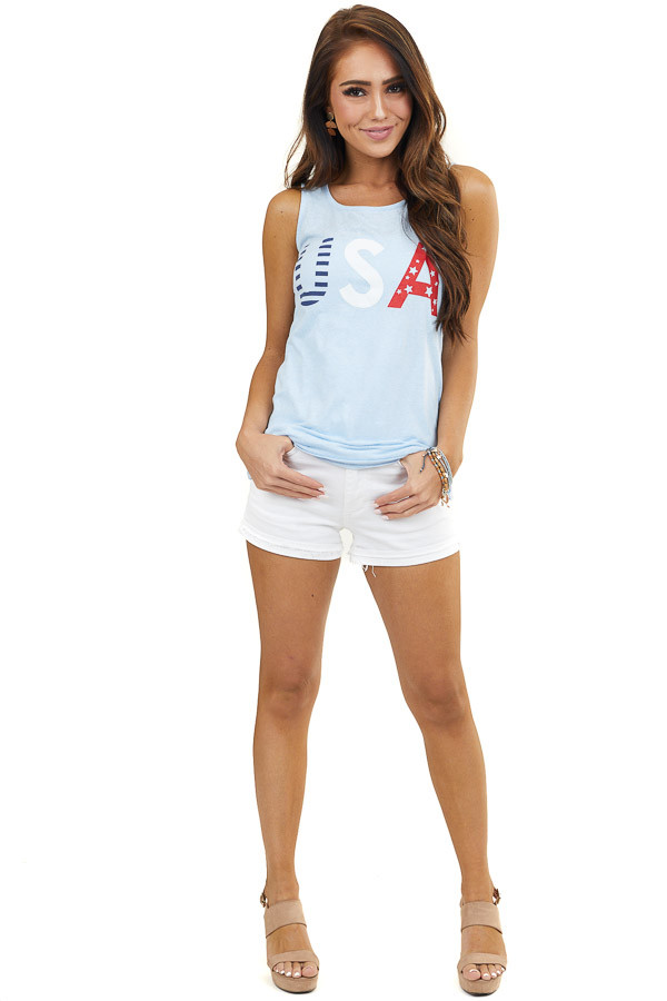 Heathered Baby Blue 'USA' Graphic Tank Top