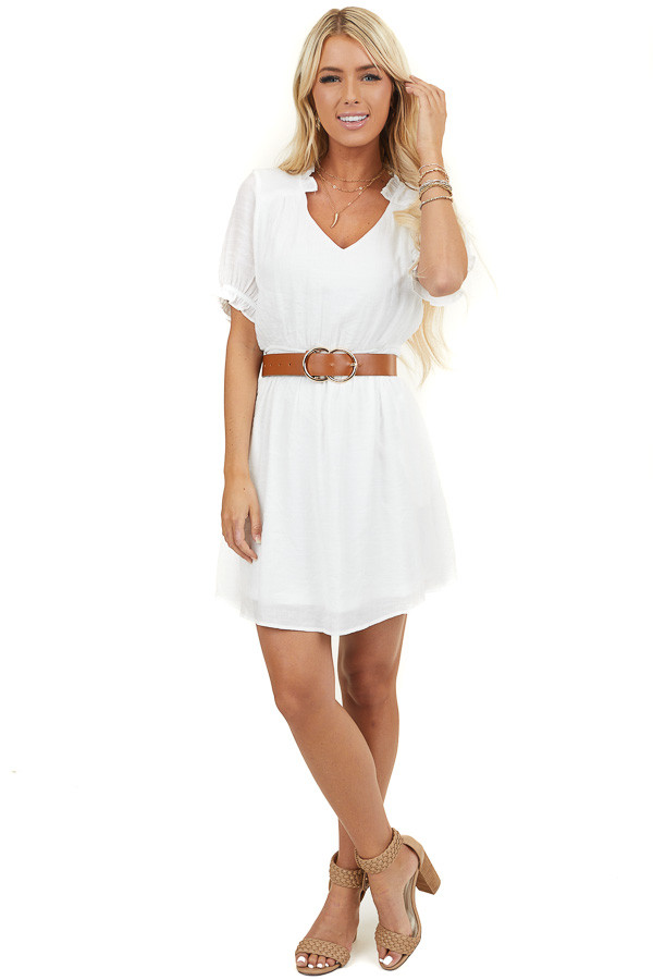 White Short Dress with Pockets and Ruffle Details