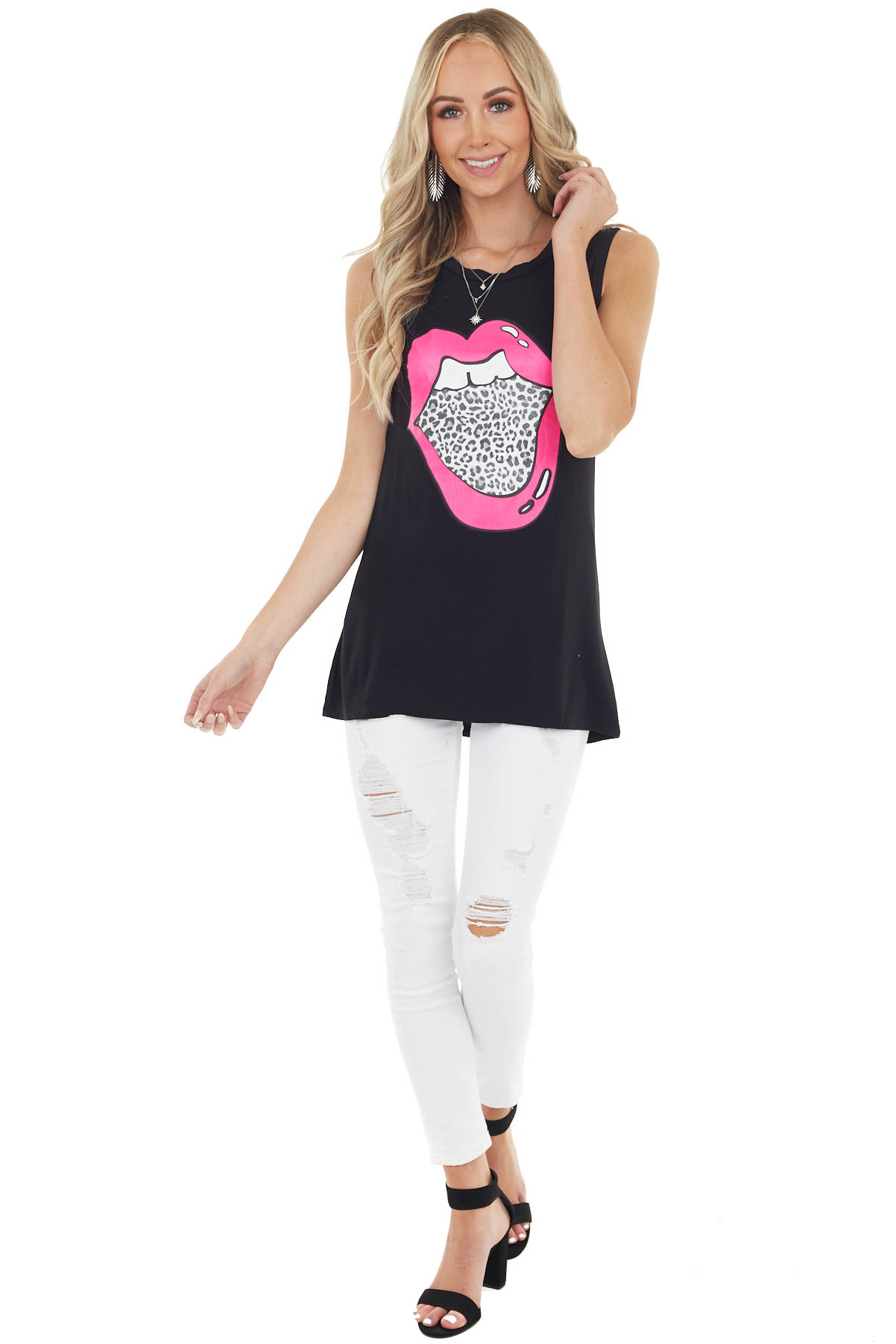 Black Tank Top with Hot Pink and Leopard Print Lip Graphic