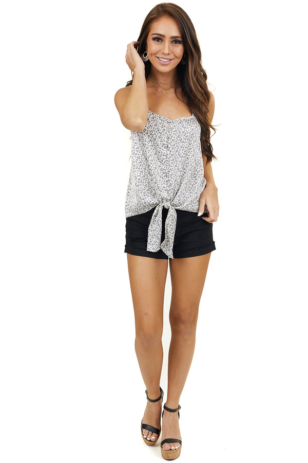 Cream Leopard Print Tank Top with Button and Knot Tie Detail