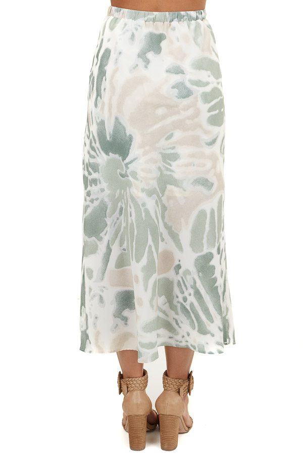 Sage and Cream Tie Dye Midi Skirt with Back Elastic Detail