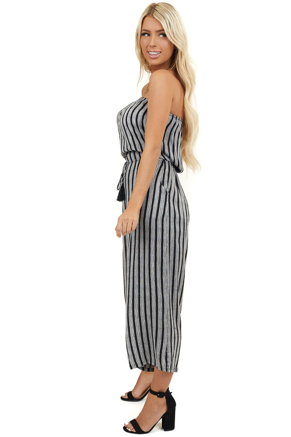 White and Black Striped Tube Top Capri Length Jumpsuit