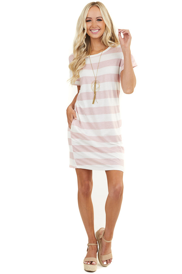 Blush and White Striped Short Sleeve Dress with Pockets