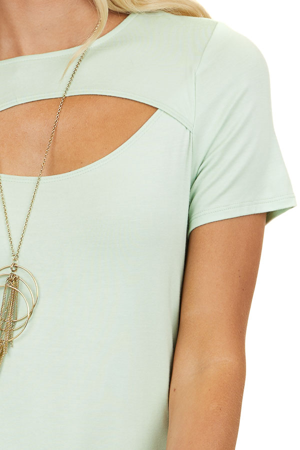 Lime Green Short Sleeve Top with Front Cutout Detail