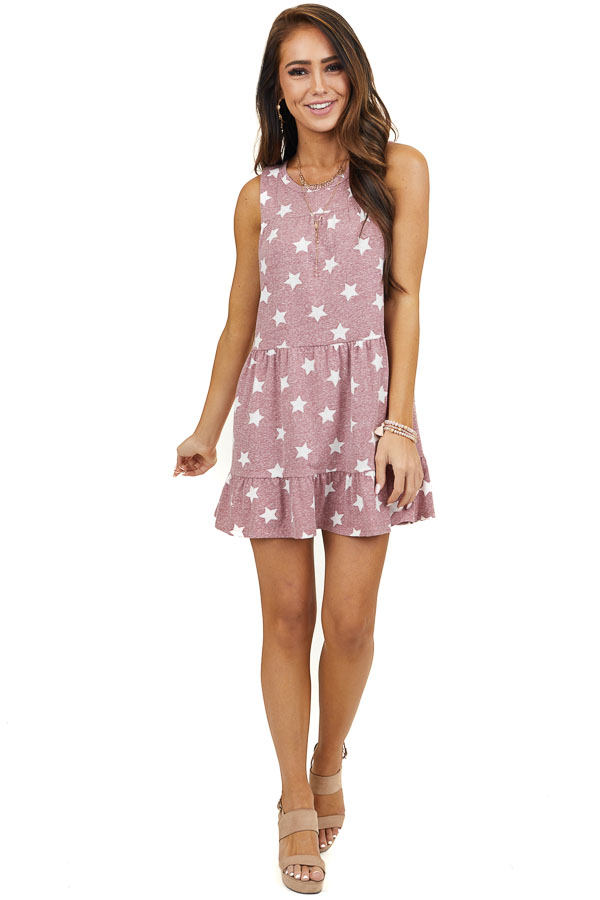 Faded Marsala Tiered Mini Dress with Off White Star Print