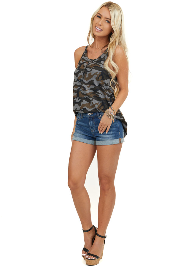 Stone Grey Camo Print Tank Top with Button Details